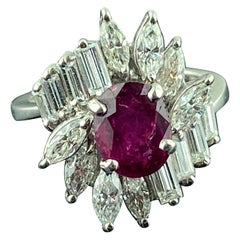 Platinum Ruby and Diamond Ring
