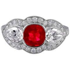 Platinum Ruby and Diamond Three-Stone Ring