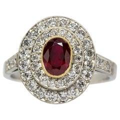 Platinum Ruby and Diamonds Ring