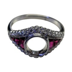 Platinum Ruby and Diamonds Ring Mount