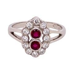 Platinum Ruby Diamond Cluster Ring