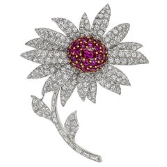 Platinum, Ruby & Diamond Flower Brooch