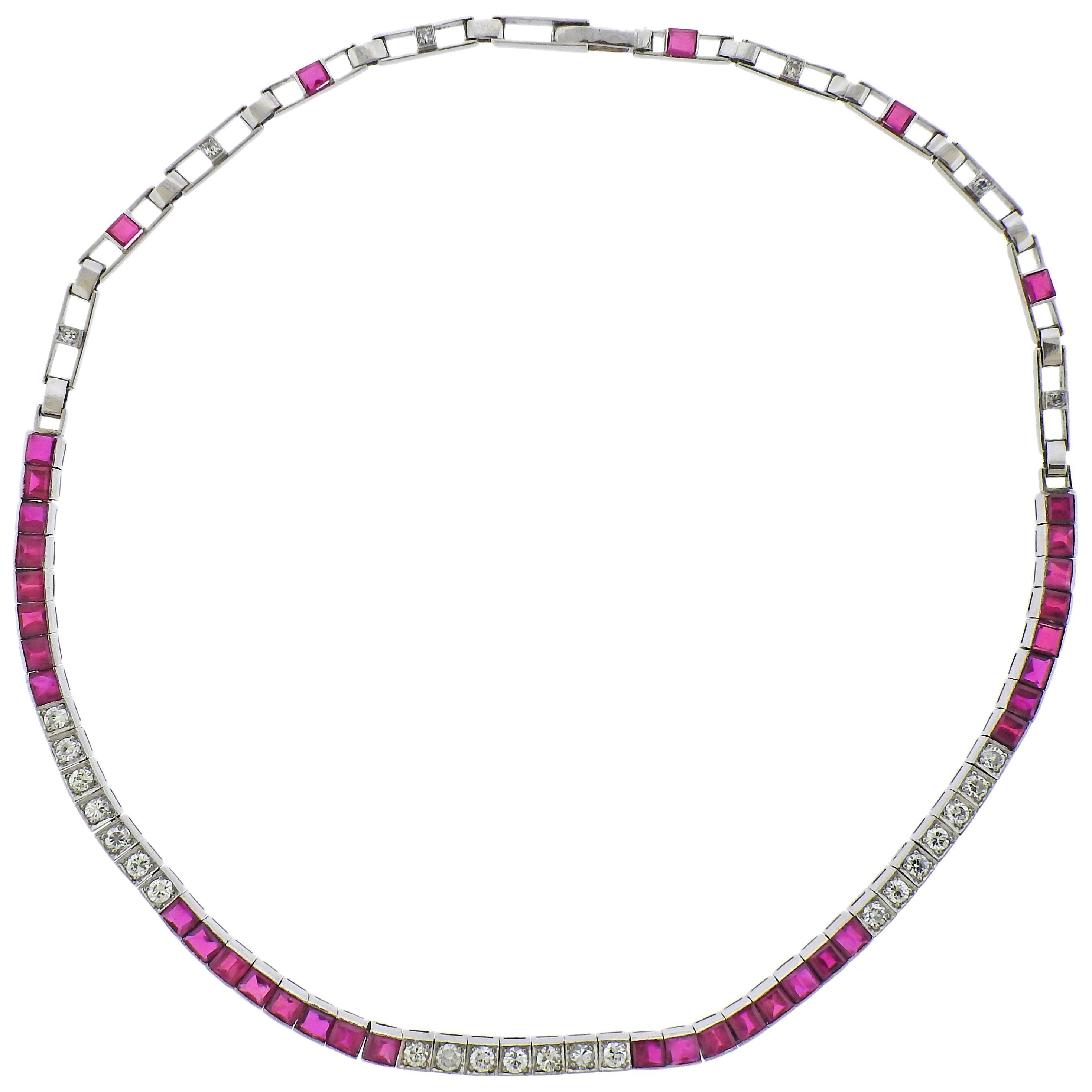 Platinum Ruby Diamond Necklace