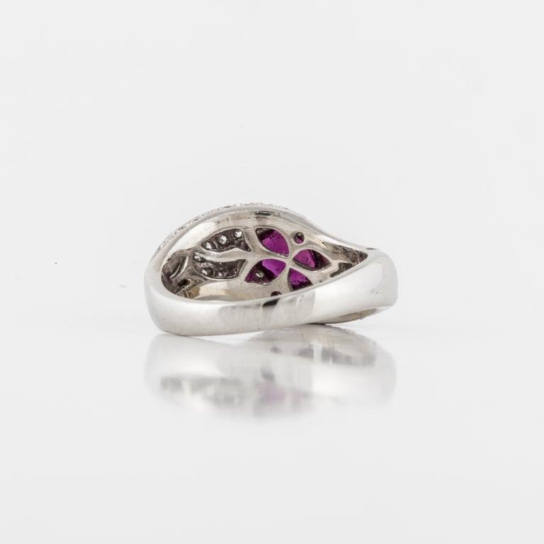 Women's or Men's Platinum Ruby Diamond Ring For Sale