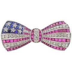 Platinum Ruby Diamond Sapphire American Flag Bow Brooch Pin