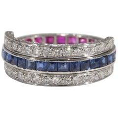 Platinum Ruby Sapphire Diamond Art Deco Style Ring