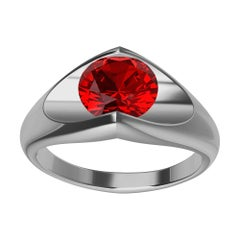 Platinum Ruby Soft V Sculpture Ring