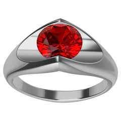 Platinum Ruby Soft V Sculpture Ring