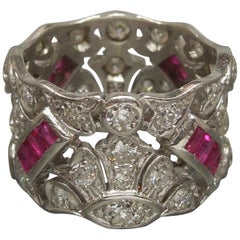 Platinum Ruby Tiara Eternity Band