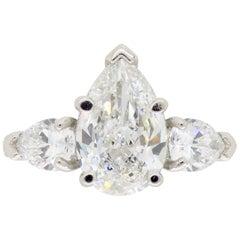 Platinum Sabet 3.21 Carat GIA Certified Pear Cut Diamond Engagement Ring