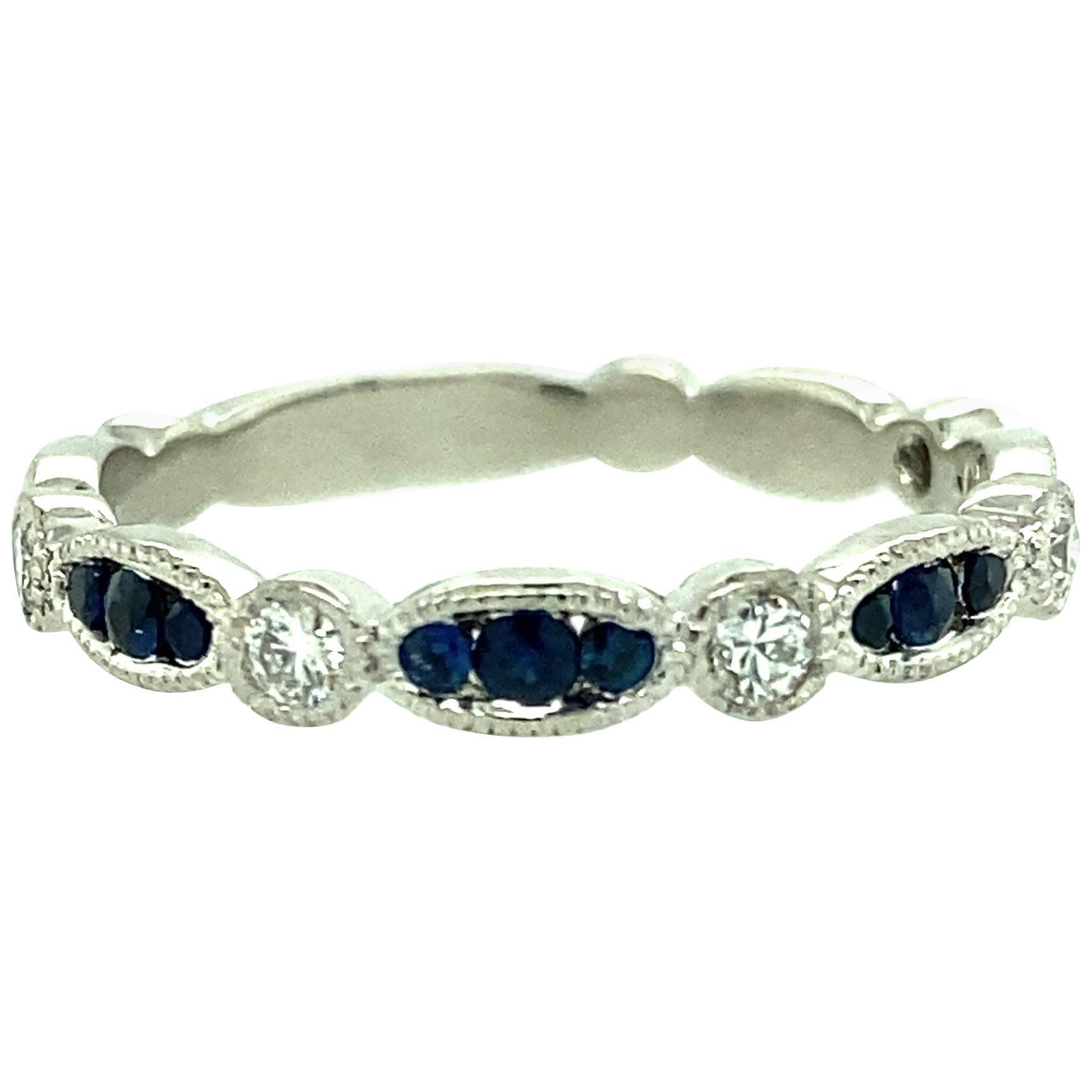 Platinum Sapphire and Diamond Band