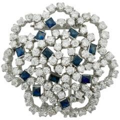 Platinum Sapphire and Diamond Brooch 9.25 Carat, circa 1950s