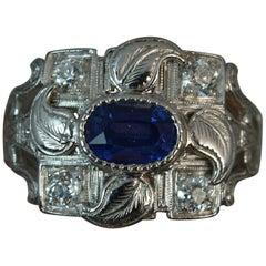 Platinum Sapphire and Diamond Cluster Panel Ring