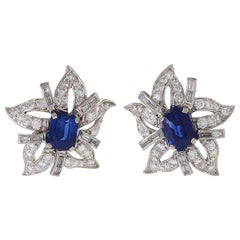Platinum, Sapphire and Diamond Flower Earrings