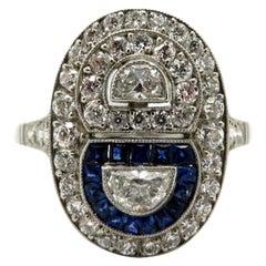 Platinum Sapphire and Diamond Half-Moon Shaped Art Deco Style Engagement Ring