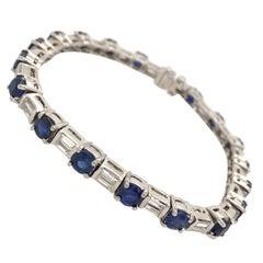 Platinum, Sapphire and Diamond Line Bracelet