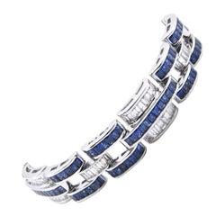 Platinum Sapphire and Diamond Link Bracelet
