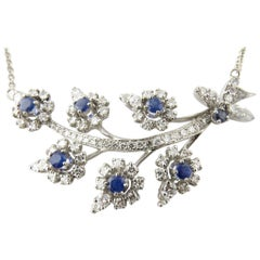 Platinum Sapphire and Diamond Necklace