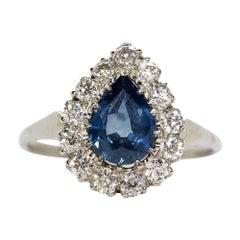 Platinum Sapphire and Diamond Pear Shape Ring