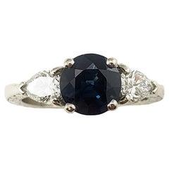 Platinum Sapphire and Diamond Ring GAI Certified