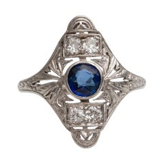 Platinum Sapphire and Diamond Shield Ring, #190072102, circa 1920s