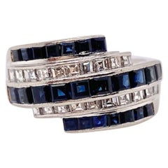 Platinum Sapphire and Diamond Wrap Ring