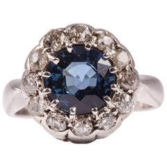 Platinum Sapphire and Diamonds Antique Ring