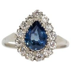 Platinum Sapphire and Diamonds Pear Shape Ring