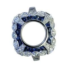 Platinum Sapphire and Diamonds Ring Mount