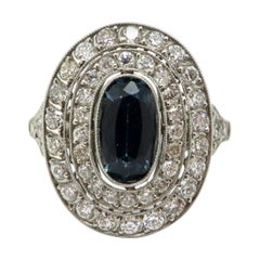 Platinum Sapphire and Old European Cut Art Deco Style Ring
