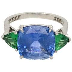 Platinum Sapphire and Tsavorite Garnet 3-Stone Ring