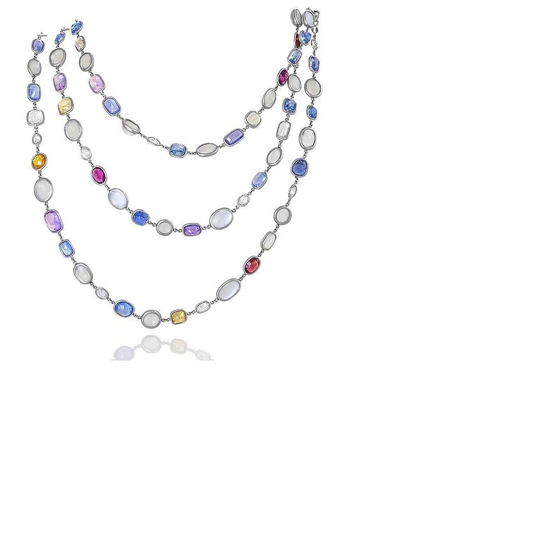 Platinum, Sapphire, Diamond and Moonstone Chain In Excellent Condition In New York, NY