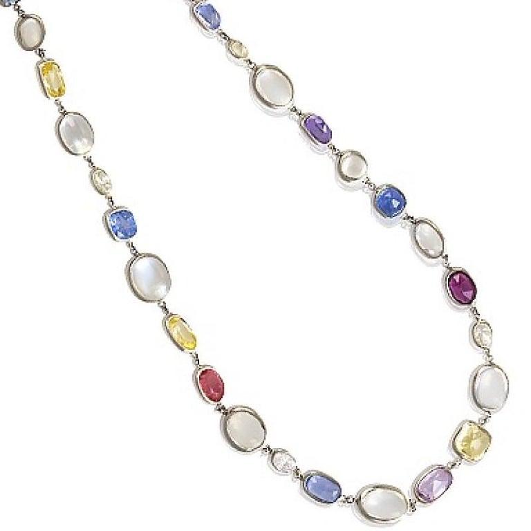 Women's Platinum, Sapphire, Diamond and Moonstone Chain