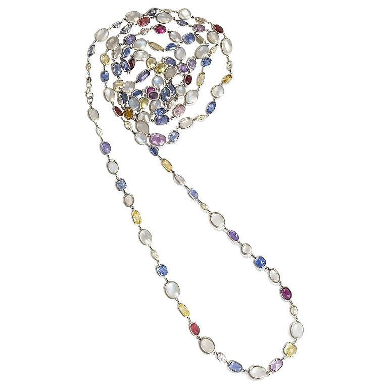 Platinum, Sapphire, Diamond and Moonstone Chain