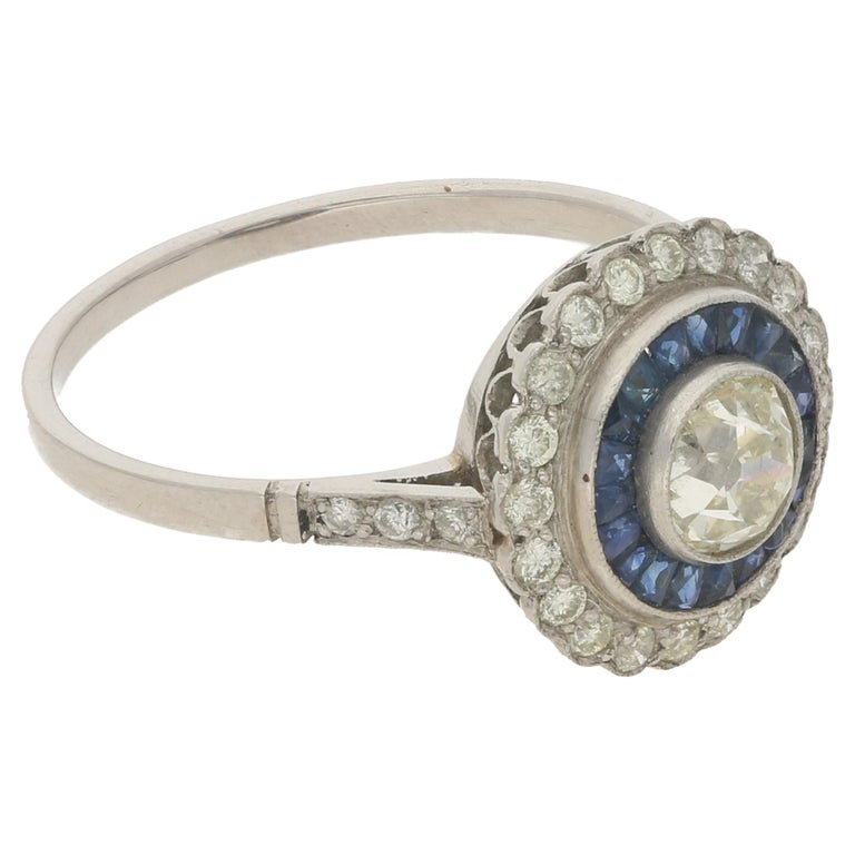 Women's or Men's Platinum Sapphire Diamond Cluster Engagement Ring For Sale