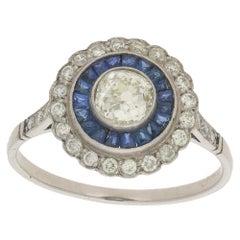 Platinum Sapphire Diamond Cluster Engagement Ring
