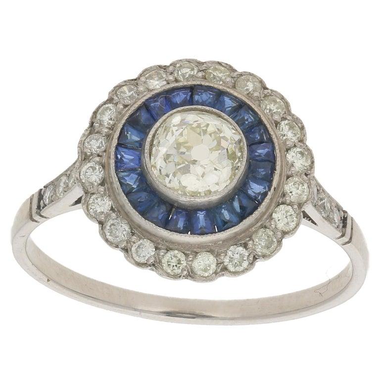 Platinum Sapphire Diamond Cluster Engagement Ring For Sale