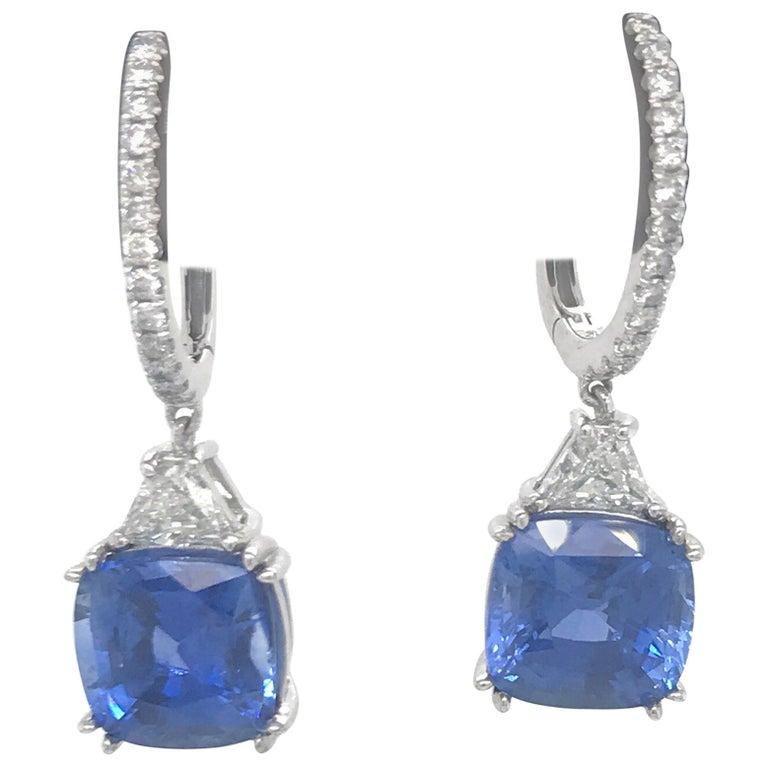 Platinum Sapphire Diamond Drop Earrings 8.71 Carat For Sale