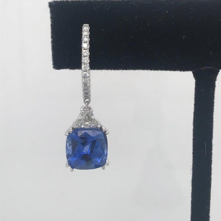 Contemporary Platinum Sapphire Diamond Drop Earrings 8.71 Carat For Sale