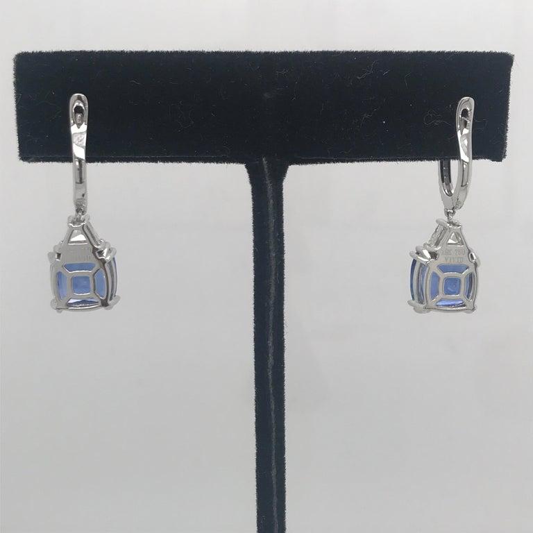 Women's Platinum Sapphire Diamond Drop Earrings 8.71 Carat For Sale