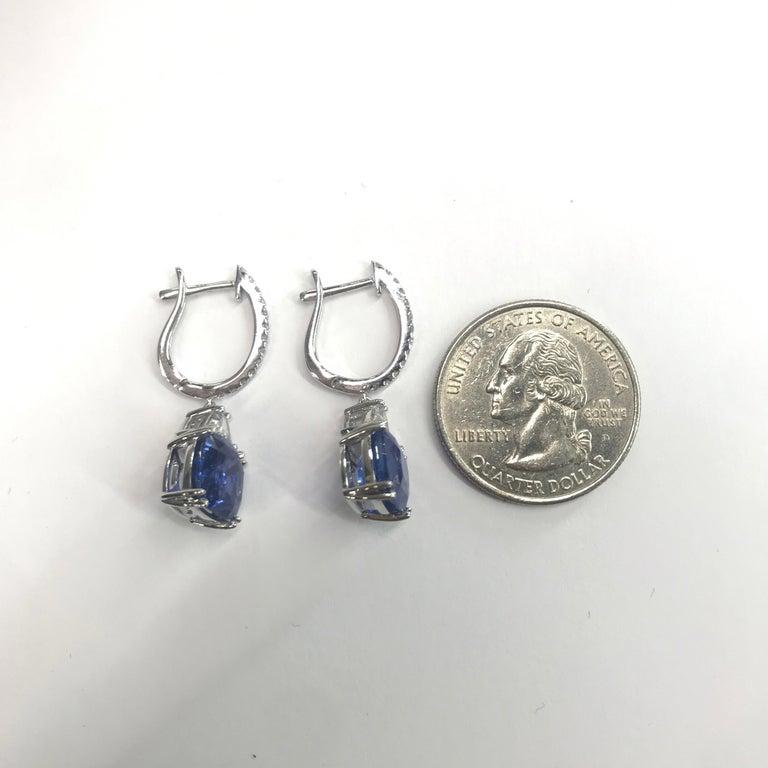 Platinum Sapphire Diamond Drop Earrings 8.71 Carat For Sale 1