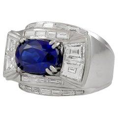 Madagascar Diamond Sapphire Platinum Ring