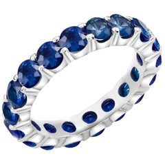 Platinum Sapphire Prong Set Eternity Ring Weighing 4.50 Carat