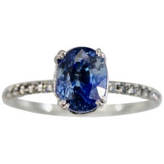 Platinum Sapphire Ring Diamond Band