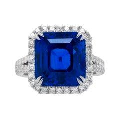 Platinum Unheated Ceylon 13.42ct Cushion Sapphire Ring with GRS Certification