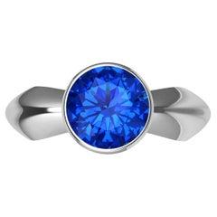 Platinum Sapphire Sculpture Ring