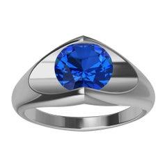 Platinum Sapphire Soft V Sculpture Ring