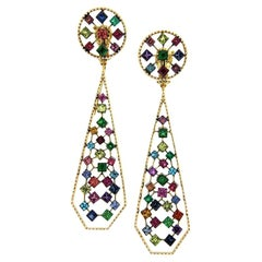 Platinum Sapphires Rubies Emeralds Tsavorites Diamonds Drop Earrings Aenea