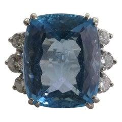 Platinum Set 17.5 Carat Aquamarine and Diamond Ring