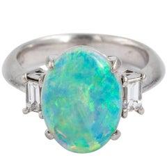 Platinum Set Australian Semi Black Opal Diamond Ring